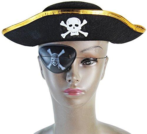 Kinder Piraten Hut mit Totenkopf Schwarz / Gold