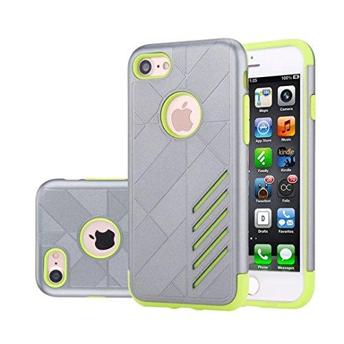 """iPhone 7 Coque, Lantier 2 en 1 Rugged Armure conception antichoc Anti Drop TPU souple durable et dur PC double couche de couverture cas hybride de protection pour Apple iPhone 7 4.7"""" Or rose Grey+Light Green"""