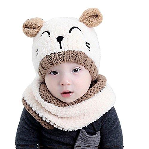 Tuopuda® Chapeau Bonnet Enfant Hiver Bébé Fille garçon Ensemble Bonnet Echarpe Chaudes Bonnet tricoté (Chapeau Beige et écharpe)