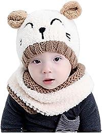 c0dd1569df488 Tuopuda® Gorro y Bufanda de Invierno para bebe niña niño Sombrero Gorro de  punto