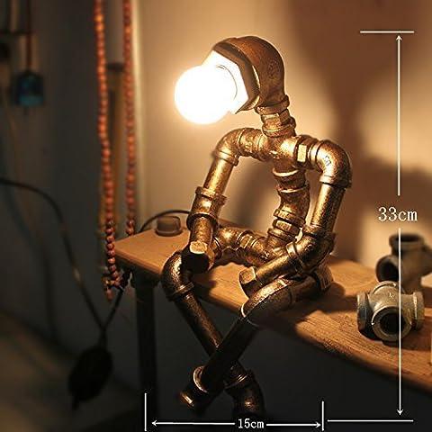 DIDIDD Led protection des yeux industrie rétro cadeau café barre eau pipe robot lampe de table