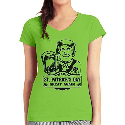 Make St. Patrick's Day Great Again Trump Damen T-Shirt V-Ausschnitt Large Limettengrün
