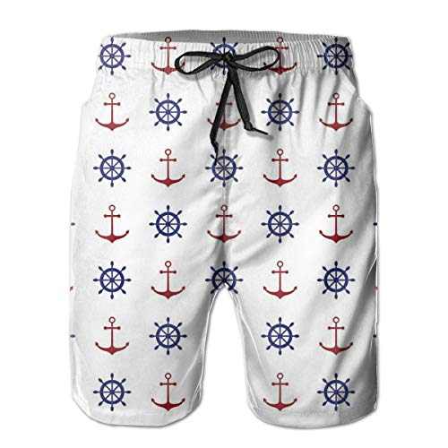 s Beach Shorts,Maritime Decor Design Anchors and Ship Wheels On The White Background Print Navy Blue and Ruby,Quick Dry 3D Printed Drawstring Casual Summer Surfing Board Shorts L ()