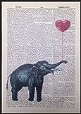 Pagina di dizionario incorniciata con stampa elefante, vintage, con Palloncino a forma di cuore