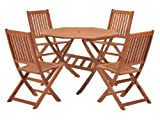 Cotswold FSC Eucalyptus Wood Outdoor 4 Seater Dining Set, with Octangonal Table (5 Pieces)