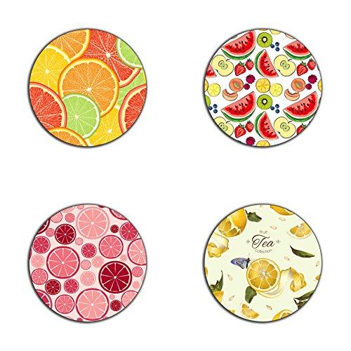 Fruits Muster Runde Untersetzer-Set-aus recycelten Gummi-Set 4Stück -