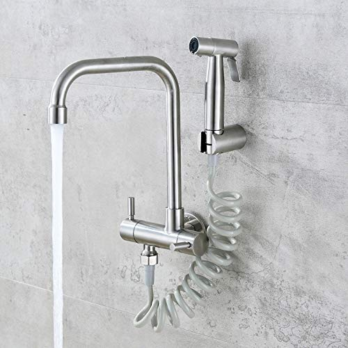 JONTON Rubinetti Faucet Faucet 304 Stainless Steel Into The Wall Orizzontale Single Cold Faucet Balcony Spray