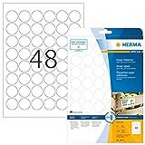 Herma 10915 Power Etiketten rund, extrem stark selbstklebend (ؘ˜ 30 mm, auf DIN A4 Papier matt, weiß) 1.200 Stück auf 25 Blatt, bedruckbar