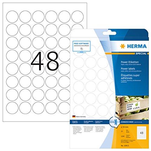 Herma 10915 Universal Etiketten rund, extrem stark haftend (ؘ˜ 30 mm) weiß, 1.200 Power Etiketten, 25 Blatt DIN A4 Papier matt, bedruckbar, selbstklebend