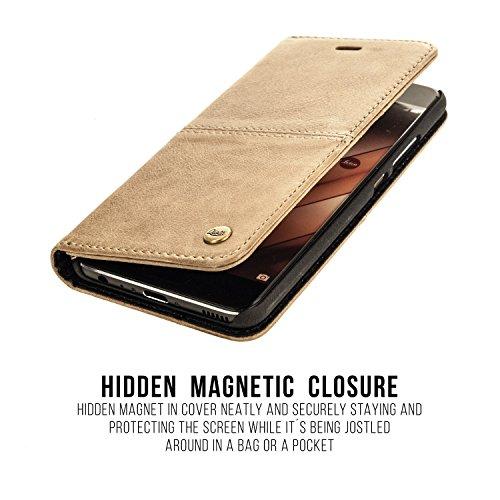"QIOTTI >            Apple iPhone 6 / 6S (4,7"")            < incl. PANZERGLAS H9 HD+ Geschenbox Booklet Wallet Case Hülle Premium Tasche aus echtem vegetabil gegerbtes Kalbsleder mit Kartenfächer in SCHWARZ. Edel verpackt i SAND BRAUN"