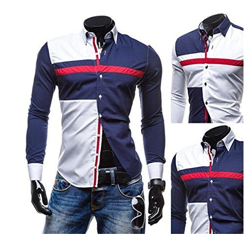 SHUNLIU Hemd Herren Freizeit Langarmhemd Slim Fit Drei-Farben-Stitching Langarmhemd Blau