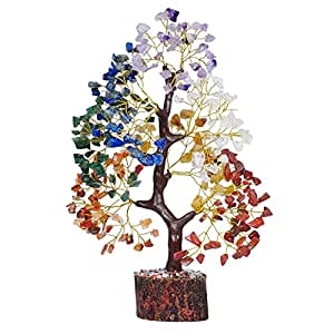 PREK Seven Chakra Crystal Gemstone Bonsai Money Tree with Golden Wire and 300 Beads Figurine Standard Size - Multicolour, 1 Piece