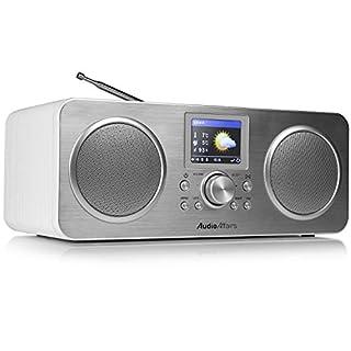 AudioAffairs IR 010 Internetradio (DAB, Digitalradio mit Wecker und Akku, WLAN Küchenradio, Badradio, UKW-Tuner, Miniradio, Uhrenradio) Silber