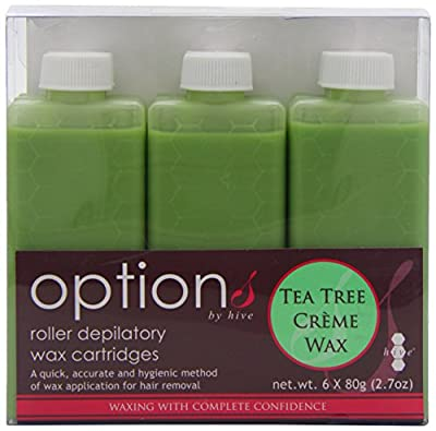 Hive Options Tea Tree Cream Wax Roller Depilatory Wax Cartridges 80g - Pack of 6