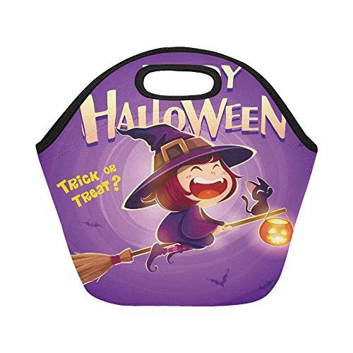 Isolierte Neopren-Lunch-Tasche Happy Halloween Halloween Flying Little Witch Große, wiederverwendbare, dicke Thermo-Lunch-Tragetaschen für Brotdosen Für den Außenbereich, Arbeit, Büro, Schule (Cute Halloween-kostüm Ideen Best)