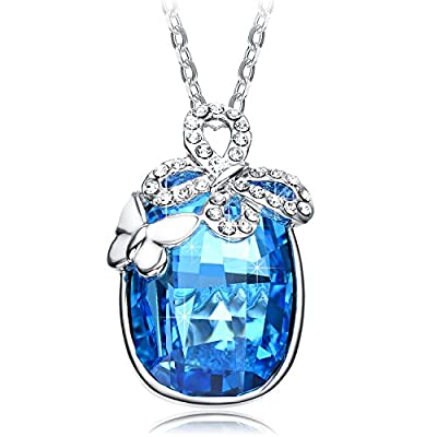 NEEMODA Blue Austrian Crystal Pendant Necklace for Women 18ct White Gold Plated Butterfly Charm Fashion Jewellery Gifts for Her