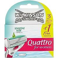 Wilkinson Sword Quattro for Women Sensitive - Cuchillas de afeitar (3+1, 1 x 4 unidades)