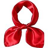 LDCSA Foulard Quadrato Donna Raso di Seta 100% Sciarpa Classico Regalo 53X53cm (rosso)