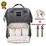 BRIGHTSHOW Baby Wickelrucksack Wickeltasche Multifunktional Segeltuch Große Kapazität Babytasche Kein Formaldehyd Reisetasche für Unterwegs (Grey)
