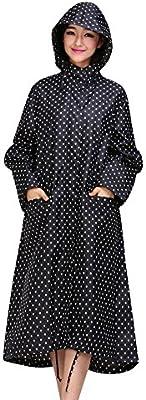 LaoZan Mujer Raincoats De Ripstop Poncho De Lluvia Impermeable Con Capucha Chupasquero