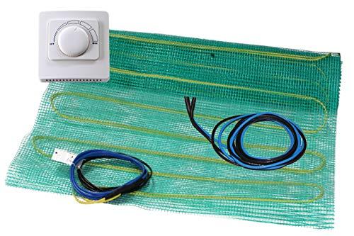 Elektrische Fußbodenheizung | Komplett Set | Heizmatte 1 m² | Analoges Raumthermostat | Fühler | Verlängerung M2 Analog
