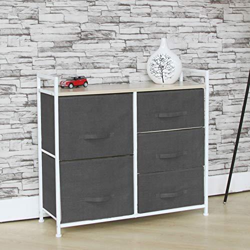 Fancy Linen Aufbewahrungskiste mit 5 Schubladen, vertikal, mit Stoffbehältern und Holzoberfläche, für Schlafzimmer, Flur, Wohnzimmer, Kinderzimmer, Spielzimmer und Schränke grau -