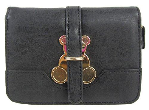 Kukubird Patta Deployante Con Trifoglio Fascino Dettaglio Medio Ladies Borsa Clutch Wallet Black