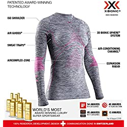 X-Bionic Energy Accumulator 4.0 Shirt Round Neck Long Sleeves Women Capa De Base Camiseta Funcional, Mujer, Grey Melange/Pink, S