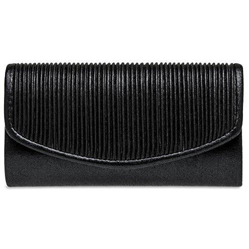 Caspar TA399 kleine elegante Damen Glanz Clutch Tasche Abendtasche mit gerafftem Überschlag, Farbe:schwarz, Größe:One Size (Tasche Geraffte Schwarze)