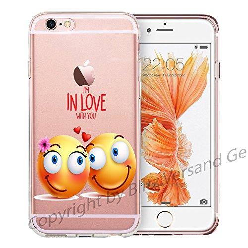 Blitz® EMOJI motifs housse de protection transparent TPE caricature bande iPhone Tomber amoureux M9 iPhone 8sPLUS Dans l'amour Emoji M7