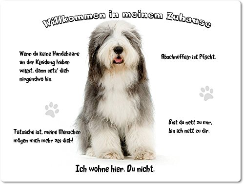 Merchandise for Fans Blechschild/Warnschild / Türschild - Aluminium - 15x20cm - - Willkommen in Meinem Zuhause - Motiv: Bearded Collie Porträt- 04