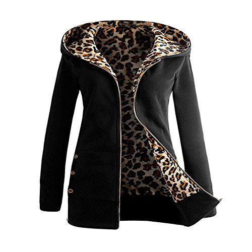 Trada Damen Wintermantel, 1 STÜCK Frauen Plus Samt Verdickt Kapuzenpullover Leopard Zipper Coat Strickjacke Outwear Hoodie Baumwolle Trenchcoat Mantel Winter Warm Coat (XL, Schwarz)