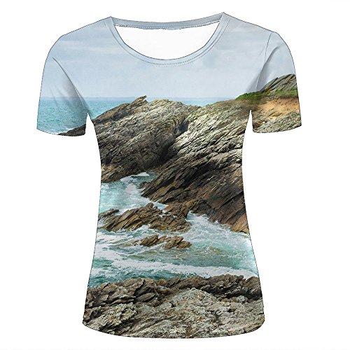 Damen Crewneck 3D Print T-Shirt Sharp Coast sea Waves Creative Graphic Short Sleeve Tee Top Shirts XXL