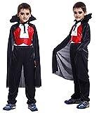 Größe XL - 9-10 Jahre - Kostüm - Cross Dressing - Karneval - Halloween - Vampir - Dracula - Schwarze Farbe - Zähne inklusive - Kind