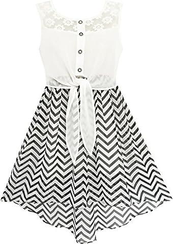 Mädchen Kleid Schnüren Bis Chiffon Gestreift Schwarz Weiß Gebunden Taille Gr.158