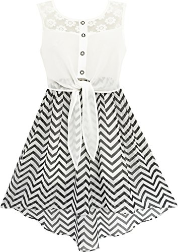 HD33 Girls Dress Lace To Chiffon Striped Black White Tied Waist Age 10 Years