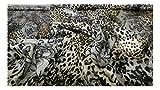 Fabrics-City % SCHWARZ/BRAUN/BEIGE SATIN STOFF LEOPARD