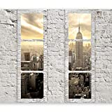 murando - Fototapete Fenster nach New York 350x256 cm - Vlies Tapete - Moderne Wanddeko - Design Tapete - Wandtapete - Wand Dekoration - New York Stadt City Skyline View Manhattan Himmel Fenster Steine Ziegel USA c-A-0066-a-b