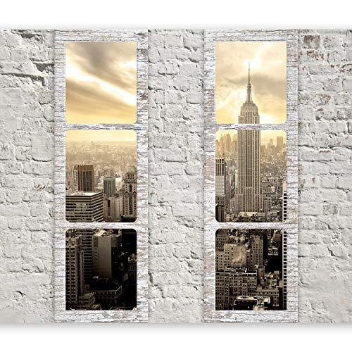 murando - Fototapete Fenster nach New York 350x256 cm - Vlies Tapete - Moderne Wanddeko - Design Tapete - Wandtapete - Wand Dekoration - New York Stadt City Skyline View Manhattan Himmel Fenster Steine Ziegel USA c-A-0066-a-b