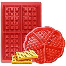Febbya Moldes de Gofres,Silicone Waffle Moldes 2 Pack Antiadherentes Gofres para Hornear para Niños
