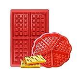 Febbya Stampo per Waffle,Antiaderenti Stampi per Waffle in Silicone 2 pezzi Forno Microonde Stampi per Biscotti Set per Bambini Muffa Choclate Utensili da Cucina Rettangolare e Rosso Forma Rosso