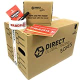 20 Strong Cardboard Storage Packing Moving House Boxes Double Walled with Fragile Tape