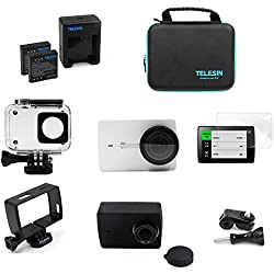 telesin 8en 1kit de accesorios impermeable Vivienda + batería + cargador + lente pantalla para Xiaomi Yi 4K, 4K + Acción Accesorios de la cámara