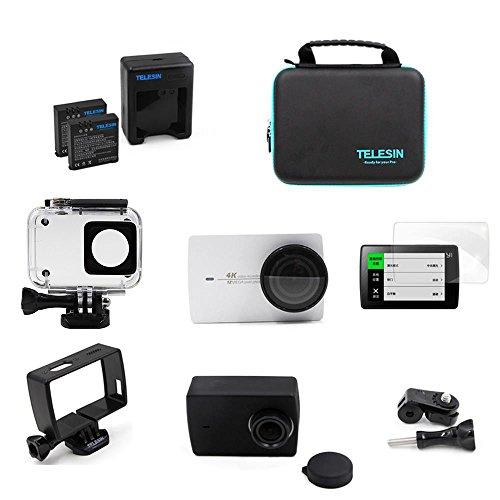 Telesin 8en 1Kit d'accessoires boîtier étanche + batterie + chargeur + protecteur de lentille pour Xiaomi Yi 4K, 4K + Action Camera Accessoires