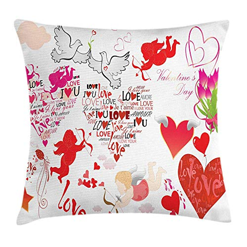 Love Throw Pillow Cushion Cover, A Collection of Valentines Day Themed Cupid Silhouettes with His Arrows Love Birds, Decorative Square Accent Pillow Case, 18 X 18 Inches, Multicolor
