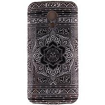 Guran® Silicona Funda Carcasa para Motorola Moto G (2nda Generación) Smartphone Case Bumper Shock TPU Cover-Flor negro