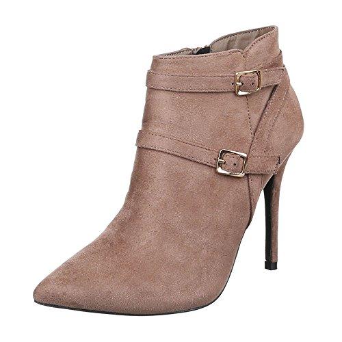 Sapatas Das Senhoras, Ch-25045, Ankle Boots Com Salto Alto Fivela Bege