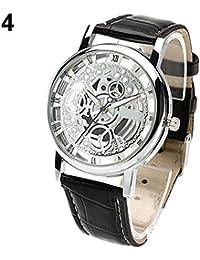 YPS unisex con estilo de los n¨²meros romanos de cuero de imitaci¨®n Deportes esqueleto reloj WTH8302
