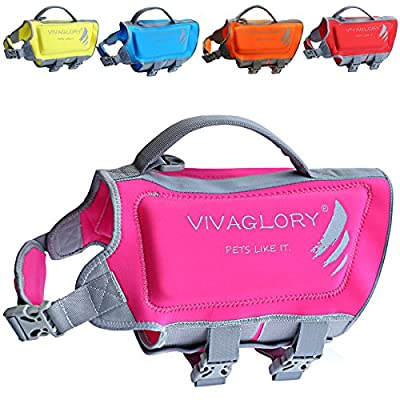 Vivaglory Skin-Friendly Neoprene Dog Life Jackets with Superior Buoyancy and Rescue Handle from Vivaglory