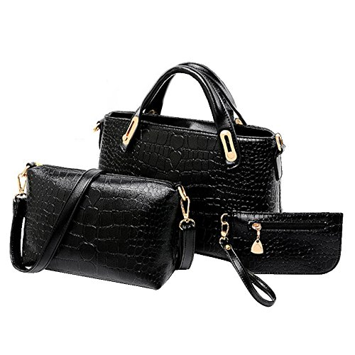 byd-damen-handtaschen-set-3-in-1-set-reine-farbe-pu-leder-crocodile-mutil-function-with-1-purse-and-
